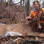 Jenny Peterson and her 200-pound, 9-point buck, shot in Magnolia, Ohio.