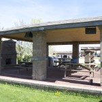 This pavilion is for public use. It includes a grill and fireplace. It was built by students.