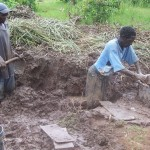 Mud bricks are a traditional building material in Kenya, Africa.