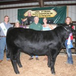 Alex Cope's 1,311-pound reserve champion steer, which was also the Columbiana County born and raised champion, sold for $5.25 a pound to Cope Farm Equipment and Sarchione Ford, Sarchione Chevrolet and Sarchione Auto Sales, represented by Alan Cope and Alex Sarchione. Also pictured are fair royalty Curtis Veiock and Melinda Richey.