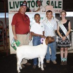 Anthony Gillespie sold his 125-pound reserve champion market goat for a record $19 a pound to Preston Ford, represented by Pat Preston.