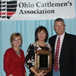 Barb and Phil Watts received the Commercial Cattleman of the Year award from Farm and Dairy Editor Susan Crowell