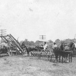 "John R. Dutton Sr., of Mineral City, Ohio, shares this photo c. 1914 that shows a full lineup of family members and others. With the side-delivery rake, pulled by horses Don and Roy, is E.C. Dutton; in the carriage is Harriet Edna Ryan Dutton, and children Evangeline, about age 4, and Dwight ""Tom"", about age 3; and the other individuals' identity isn't certain, but John R. Dutton Sr. writes they may be: E.G. Dutton, Harrison Romig, Jim Romig, Henry Sproul and Geroge Hina."