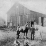 (Submitted by Arden Bryan)  Rush and Merle Bryan, and his grandparents' Ashtabula County farm on Stanhope Kelloggsville Road, near Leon, Ohio, in 1913. His father, Harold Bryan, is one of the youngsters seated in front, on the left, with his younger brother. When his grandfather moved to the farm from Parks Road, Sycamore, he rode in the railroad cattle car with his 10 cows and horses. Mr. Bryan shares a great story: Seems his father graduated from Dorset High School, but his brother graduated from nearby Andover High School. When Arden asked his father why, his father said his brother didn't want to ride the horse to Dorset, so he and the neighbor boys walked to Leon, and rode the train to Andover!