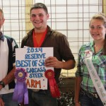 Jimmy Kunka sold his reserve best of show beef carcass, with a hanging weight of 399 pounds, to Valley Feed Mill, Inc., represented by Jim Kule, for $5.30 a pound.