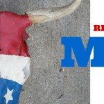 Red, white and blue cow skull