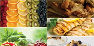 fruits, vegetables, protein, grains and dairy collage