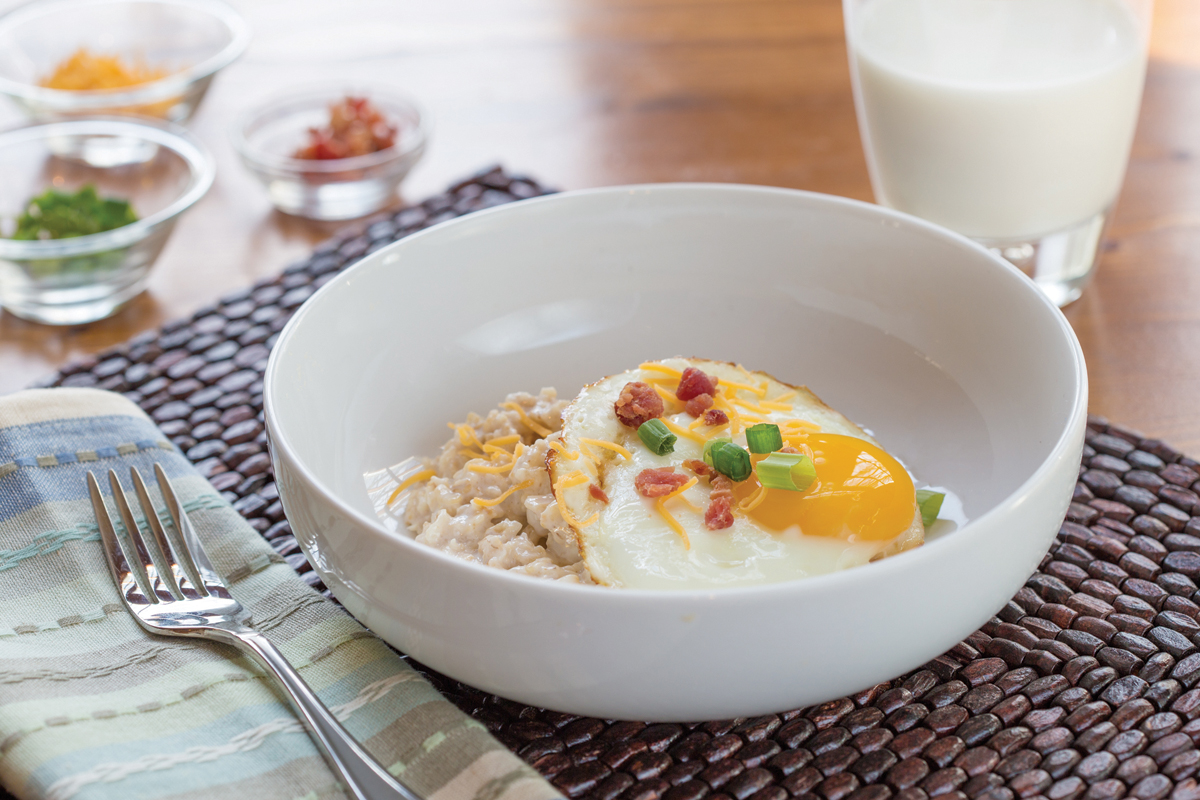 Savory Oatmeal with Soft-Cooked Egg and Bacon Recipe