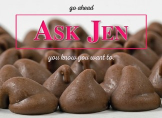 Chocolate chips with Ask Jen text