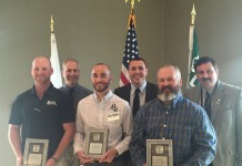 Pictured at the Central Ohio Tree City USA Awards are (left to right) James Wills Jr., forestry supervisor for the City of Springfield; Peter Smith, program manager for the Arbor Day Foundation; Matt Ulrey, parks and urban forestry manager for the City of Westerville Parks and Recreation Department; Tyler Stevenson, urban forestry coordinator for the ODNR Division of Forestry; Dan Yarnell, city arborist for the City of Wooster; and Dave Lane, assistant chief for the ODNR Division of Forestry.