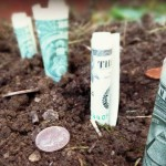 dollar bills and coins in soil