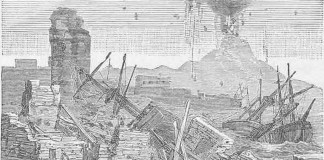 drawing of eruption of Tambora