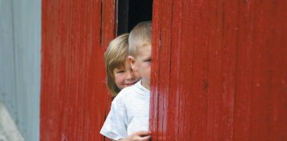 kids in barn